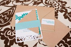 Papel Picado invitation in white, peacock & kraft. photo by Stacey Sodolak of SMS Photography: http://www.smsphotographyblog.com