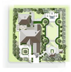 Formal rectangular back lawn with scalloped corners.