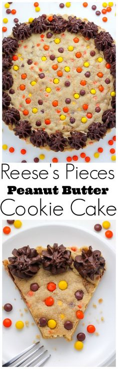 Reese's Pieces Peanut Butter Cookie Cake - LOVE this decadent dessert! Oreo Dessert, Dessert Chocolate, Chocolate Torte, Yummy Treats, Sweet Treats, Yummy Food, Cake Cookies, Cupcake Cakes, Cupcakes