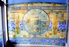 Mary's Detroit Photoblog: Pewabic    In the entryway of the Amphibian House at the Detroit Zoo is a mural made of tiels from Pewabic Pottery, a well-known local ceramics art institute.