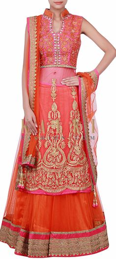 Buy Online from the link below. We ship worldwide (Free Shipping over US$100) http://www.kalkifashion.com/pink-and-orange-lehenga-adorn-in-zari-and-kundan-embroidery-only-on-kalki.html