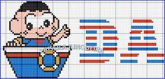 Acabei de terminar essa fofura!! Eu mesma que fiz o gráfico!! Amo motivos náuticos!! Amo a Turma da Monica! Aqui também está o gráfic...