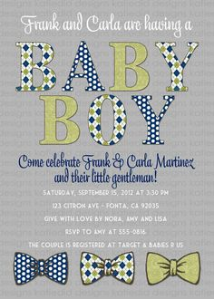 Baby boy shower invitation baby boy with bow by katiedidesigns, $13.00 (colors?)