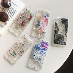 iphone case on Mercari Iphone 7 Plus, Iphone 8, Iphone Cases, Apple Watch, Airpods Apple, Glitter Phone Cases, Lace Flowers, Iphone Models, Flower Designs
