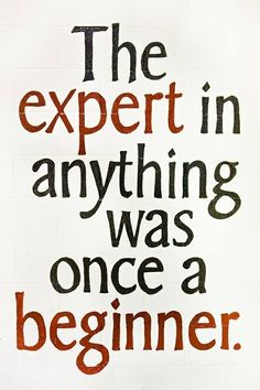 All experts were beginners ...