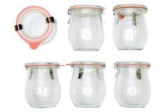 S/6 Weck Mini Tulip Jars  --  Size:     7.4 oz; 0.5-L capacity