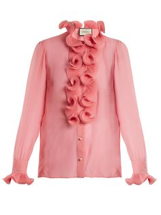 f8e41975ded011 GUCCI Ruffle-trimmed sheer silk-georgette blouse.  gucci  cloth   Beautiful