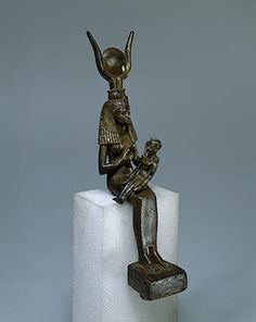 Statuette of Isis Enthroned with Horus on Her Lap    Ancient Egypt. 7th - 6th century BC