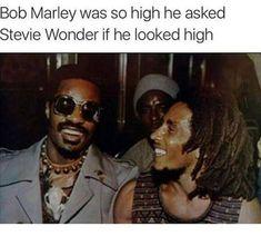 Bob Marley was so high he asked Stevie Wonder if he looked high Funny Weed Memes, Weed Jokes, 420 Memes, Weed Humor, Dankest Memes, Funny Quotes, Cannabis, Drug Memes, Jokes