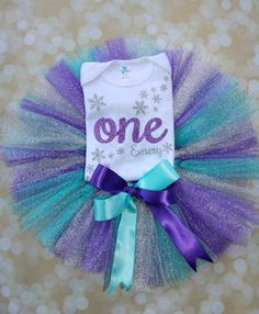 Winter Onederland Purple and Ice Blue Teal First Birthday Set with Snowflake design and script one across with beautifully crafted tutu and bow to finish.