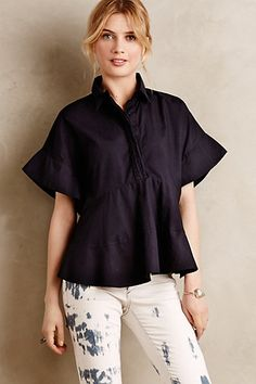 Abilene Peplum Top #anthropologie  LOVE THIS TOP! pricey but love the kimono-type sleeve