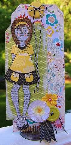 Tag using Julie Nutting's Mixed Media  Doll Stamp - these are so fun to play with!!
