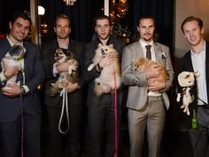 Ottawa Senators players Cody Ceci, Milan Michalek, Bobby Ryan, captain Erik Karlsson, and Erik Condra pose with some of the dogs attending Hopeful Hearts dog rescue fundraising dinner. Cody Ceci, Bobby Ryan, Best Player, Hockey Players, Ottawa, Rescue Dogs, Cute Dogs, Milan, Pup