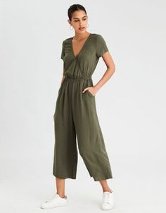 AE Easy Culotte Jumpsuit by  American Eagle Outfitters | Easy, versatile, effortless style. It doesn't get any better.Easy, versatile, effortless style. It doesn't get any better. Shop the AE Easy Culotte Jumpsuit and check out more at AE.com.