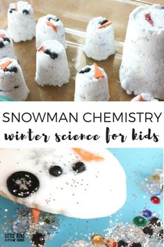 Snowman Baking Soda Science Experiment and Winter Activity for Kids