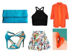 """Shok"" by sahira-cas on Polyvore featuring moda, Jeremy Scott, Via Spiga, Saveén, Soaked in Luxury, Color, Blue y orange"