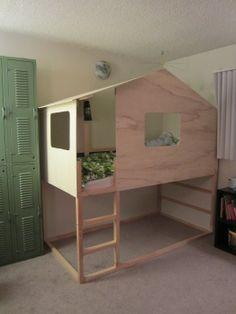 in een handomdraai een retekoel bed met de Ikea Kura hoogslaper als basis