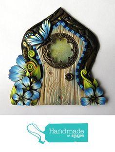 Blue Butterfly Fairy Door Tooth Fairy Entrance, Handmade One of A Kind Door by Claybykim from claybykim https://www.amazon.com/dp/B06XVZ5N6L/ref=hnd_sw_r_pi_dp_QTc2ybMMBGGCX #handmadeatamazon