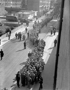 A queue of Arsenal fans outside Highbury for a home game against Aston Villa 1948