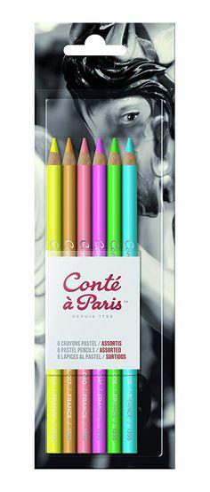 Conté à Paris Bright Hues Pastel Pencil - Assorted Colours (Pack of 6): Amazon.de: Bürobedarf & Schreibwaren