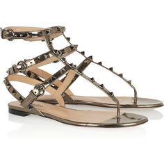 Valentino Studded metallic leather sandals ($895) ❤ liked on Polyvore