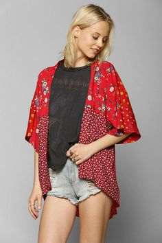 Urban Renewal Patched Blossom Kimono Jacket #urbanoutfitters