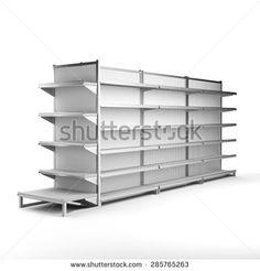 set of supermarket shelves in perspective. render