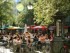 Ludwigsplatz Karlsruhe. One of the biggest outdoor dining areas in my hometown. All adjacent restaurants have a share of the urban plaza.