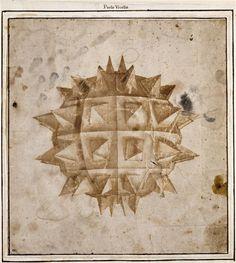 Paolo Uccello. Figure sphérique hérissée de pointes acérées, vers 1450. Dessin à l'encre brune.