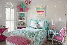 Bright and Bold Tween Room - This tween girl bedroom iis a fantastic mix of bold and bright and fun and layered patterns. Kids Bedroom Ideas For Girls Tween, Preteen Girls Rooms, Preteen Bedroom, Teenage Girl Bedroom Designs, Teenage Girl Bedrooms, Teal Teen Bedrooms, Trendy Bedroom, Master Bedrooms, Kids Girls