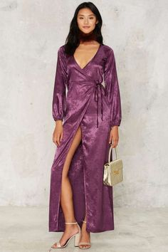After Party by Nasty Gal Dahlia Jacquard Wrap Dress