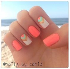 Nail Art Designs For Short Nails Cute summer nails with gold and teal accents!Cute summer nails with gold and teal accents! Cute Summer Nails, Cute Nails, Pretty Nails, My Nails, Summer Fun, Summer Beach Nails, Nails 2017, Nail Art Ideas For Summer, Neon Nails