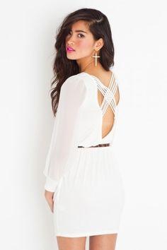 Lily Lattice Dress - Ivory - NASTY GAL - StyleSays