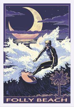 Folly Beach, South Carolina - Surfer with Palmetto Moon - Lantern Press Artwork (24x36 Giclee Art Print, Gallery Framed, White Wood), Multi