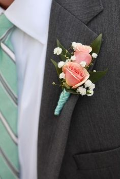 boutoniere diy chesapeae bay maryland wedding Leslie Koehn Photography Turquoise and Coral DIY Wedding Ceremony on the Chesapeake Bay: Laura + Nathaniel Wedding Ceremony, Our Wedding, Dream Wedding, Wedding Pins, Prom Flowers, Wedding Flowers, Magenta Flowers, Coral Boutonniere, Boutonnieres