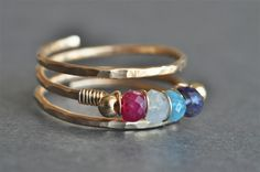 Grandmother's / Mother's Birthstone Ring (3, 4, or 5 stones + 2 filler beads) - Mu-Yin Jewelry