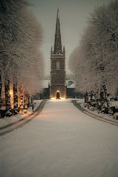 Hillsborough Parish Church at Night (in WInter)