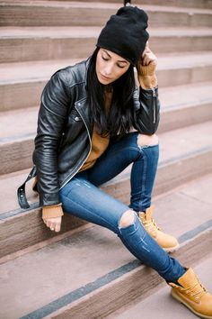 Casual look wearing a moto