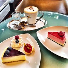 Hot #cappucino with cheese #cakes