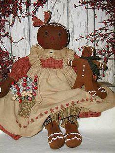 Primitive Handcrafted Olde Gingerbread Doll*Ginger & Her Dollie*Christmas Decor*