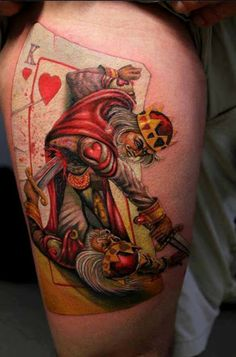 Realistic king of cards tattoo on leg this is so cool, I always imagined this as a kid looking at the cards