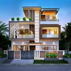Modern House Facades, Modern Exterior House Designs, Latest House Designs, Modern House Plans, Modern Bungalow Exterior, House Outside Design, House Front Design, Small House Design, 3 Storey House Design