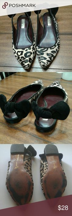 Report Signature slingback flats Leather & man-made linings. Fur top, soft bow. Very good used condition. Report Signature Shoes Flats & Loafers