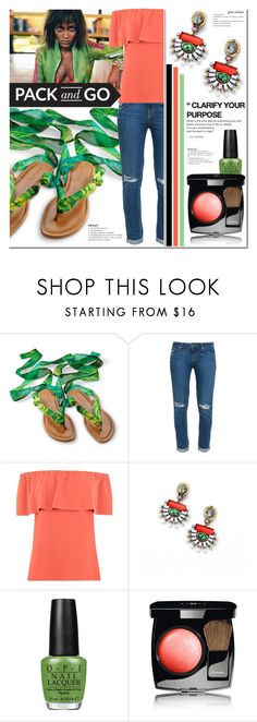 """""""Pack and Go: Rio"""" by milica1940 ❤ liked on Polyvore featuring Paige Denim, Warehouse, OPI and Chanel"""