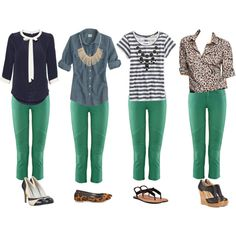 What to wear with colored pants. We might think about a theme, using one or two signature things and showing how to wear it many ways. All the models could wear different colored pants.