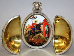 A good Russian silver egg triptych by Pavel Ovchinnikov. Est. £3,000 – £5,000.