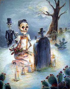 Dia De Los Muertos Wall Art - Painting - Grave Sight by Heather Calderon Memento Mori, Dibujos Pin Up, Frida Art, Day Of The Dead Art, Skeleton Art, Chicano Art, Mexican Art, Mexican Crafts, Halloween Art