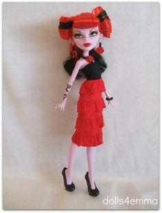 Red Ruffles DRESS & JEWELRY Handmade for Monster High dolls - by DOLLS4EMMA, $12.00