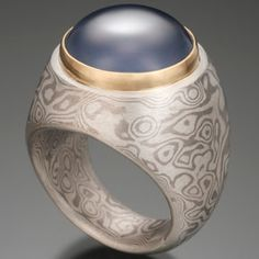 Chris Ploof - Hollow Construction Mokume Gane Ring with Blue Chalcedony