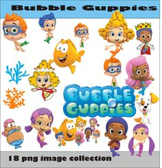 Bubble Guppies Collection PNG Vector Instant Download Disney Clipart Digital Albums Magnet Collage Greeting Sticker Printable Party Items by SlavGraphics on Etsy